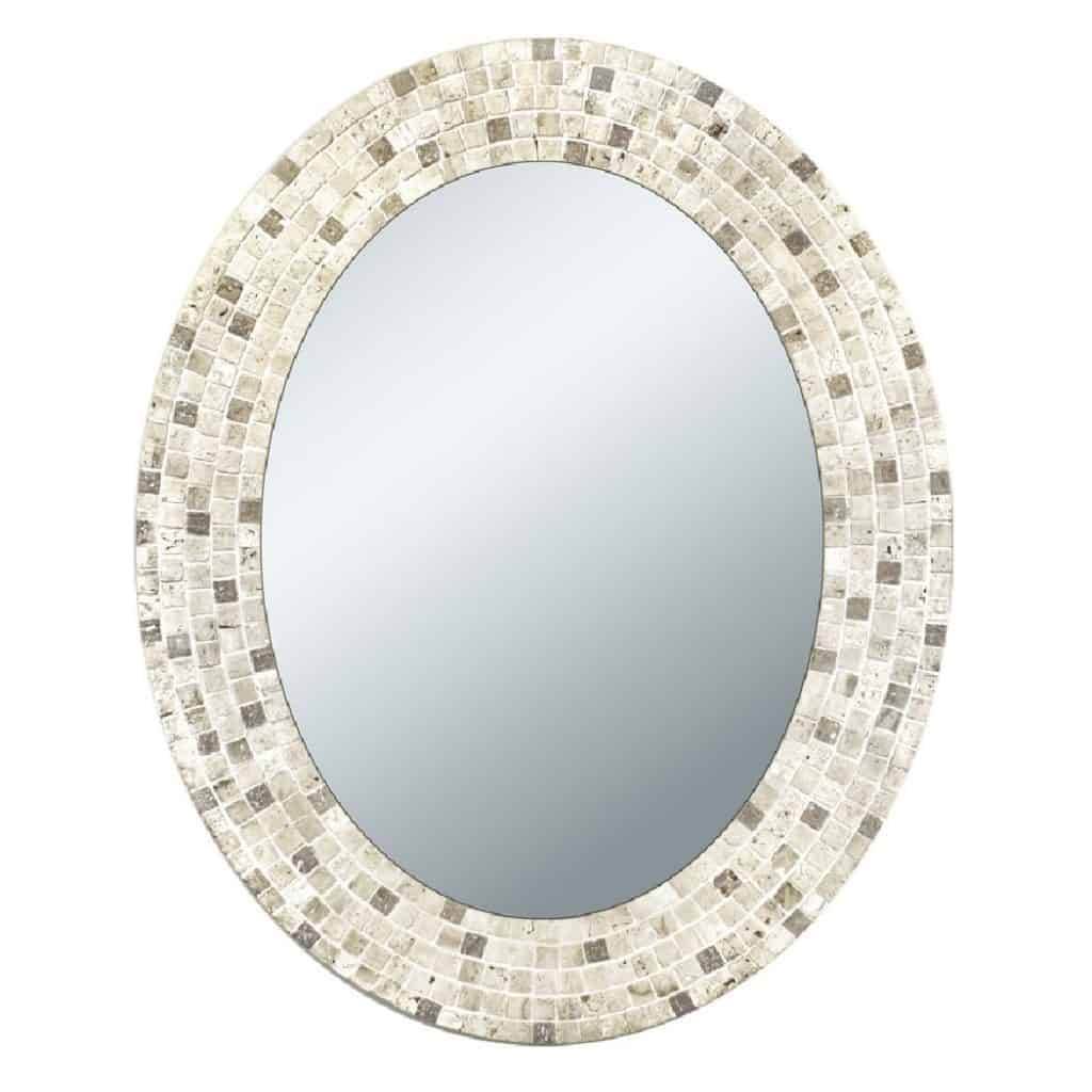 Head West Travertine Mosaic Oval Bathroom Mirror