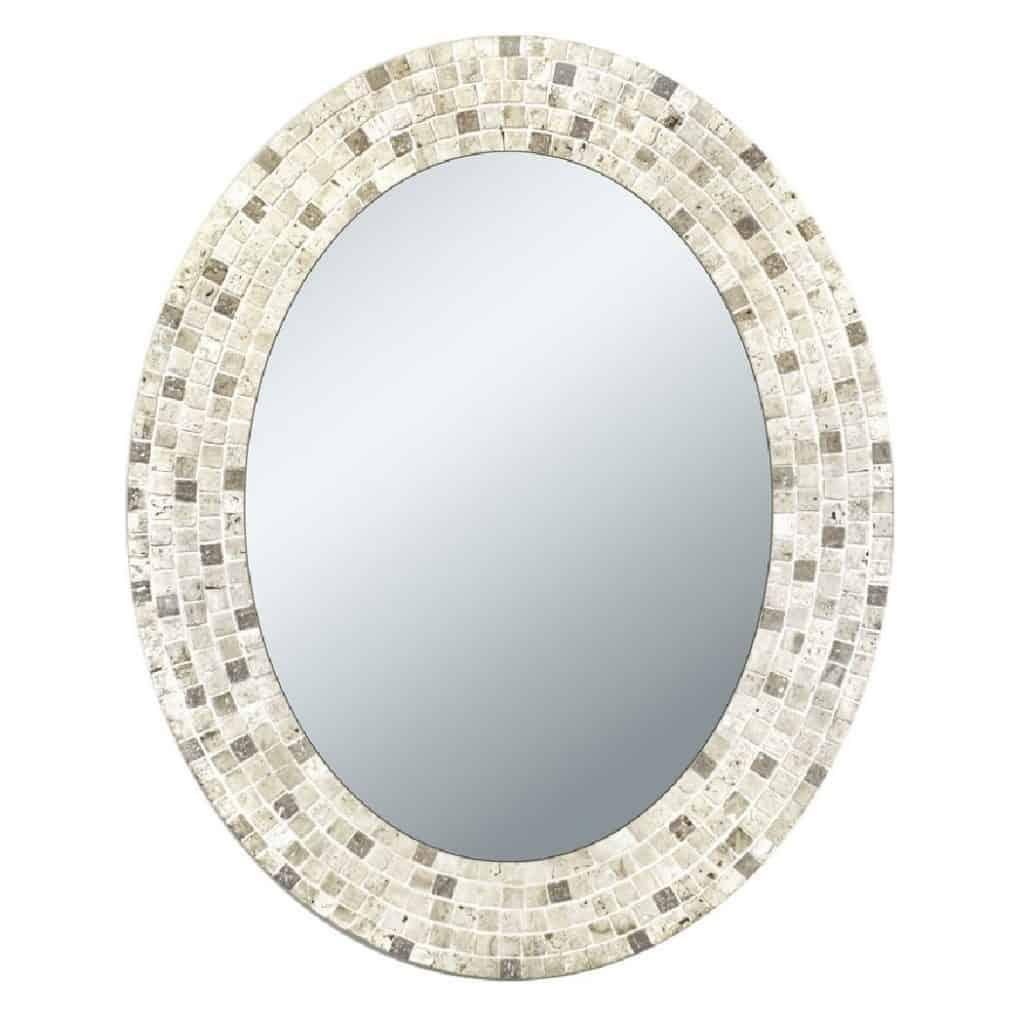 Head West Travertine Mosaic Oval Bathroom Mirror