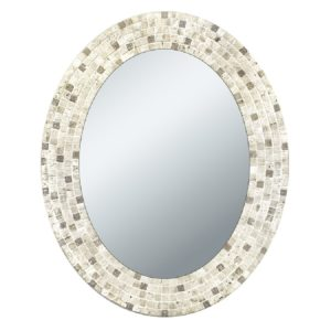 Head West Travertine Mosaic Oval Mirror