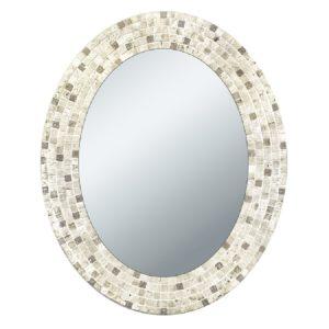 Head West Travertine Mosaic Oval Mirror