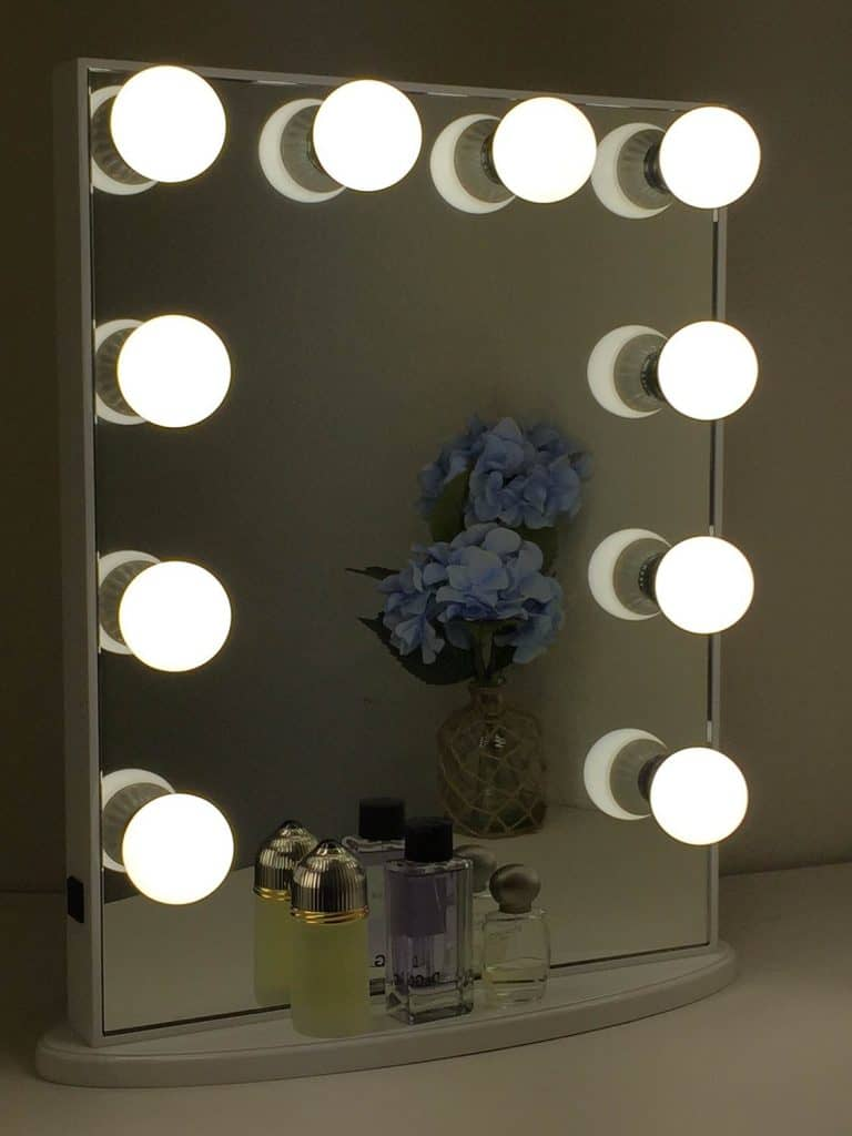 Vanity With Lights Around Mirror Campernel Designs
