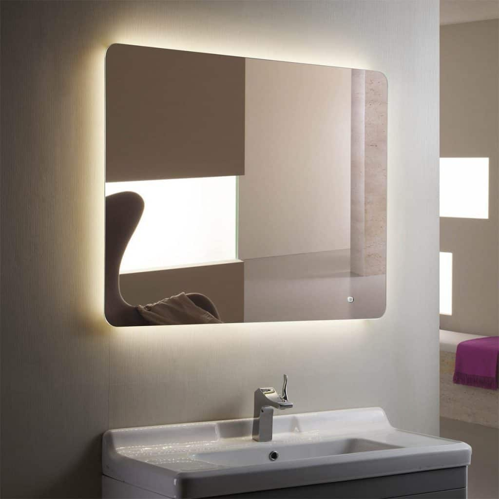 Horizontal LED Bathroom Silvered Mirror with Touch Button