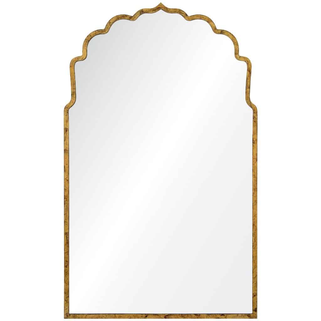 Lotus Silhouette Hollywood Regency Gold Leaf Bathroom Mirror