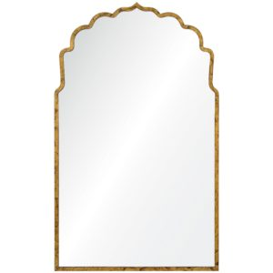 Lotus Silhouette Hollywood Regency Gold Leaf Mirror