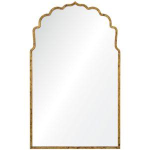 Lotus Silhouette Hollywood Regency Gold Leaf Mirror