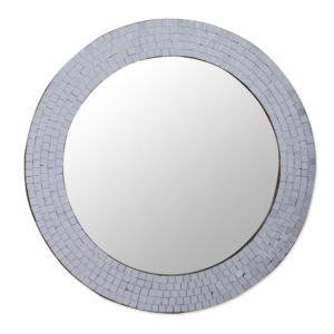 NOVICA Mosaic Glass Circle Wall Mounted Mirror