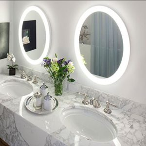 "Round 22"" LED Lighted Wall Mount Bathroom Mirror ""Sol"" with Defogger (Fog Free) 22"" Diameter by KRUGG"