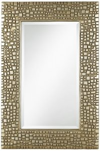 Textured Relief 14 X 36 High Champagne Wall Mirror