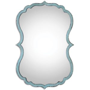 Unusual Curved Shaped Light Blue Wall Mirror