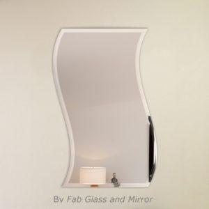 Wavy beveled polish Frameless wall Mirror