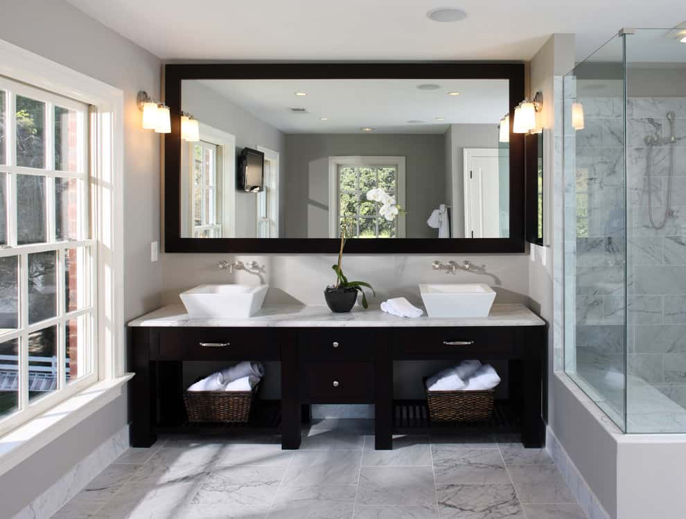 bathroom mirrors ideas. huge mirror 25  Beautiful Bathroom Mirror Ideas by Decor Snob