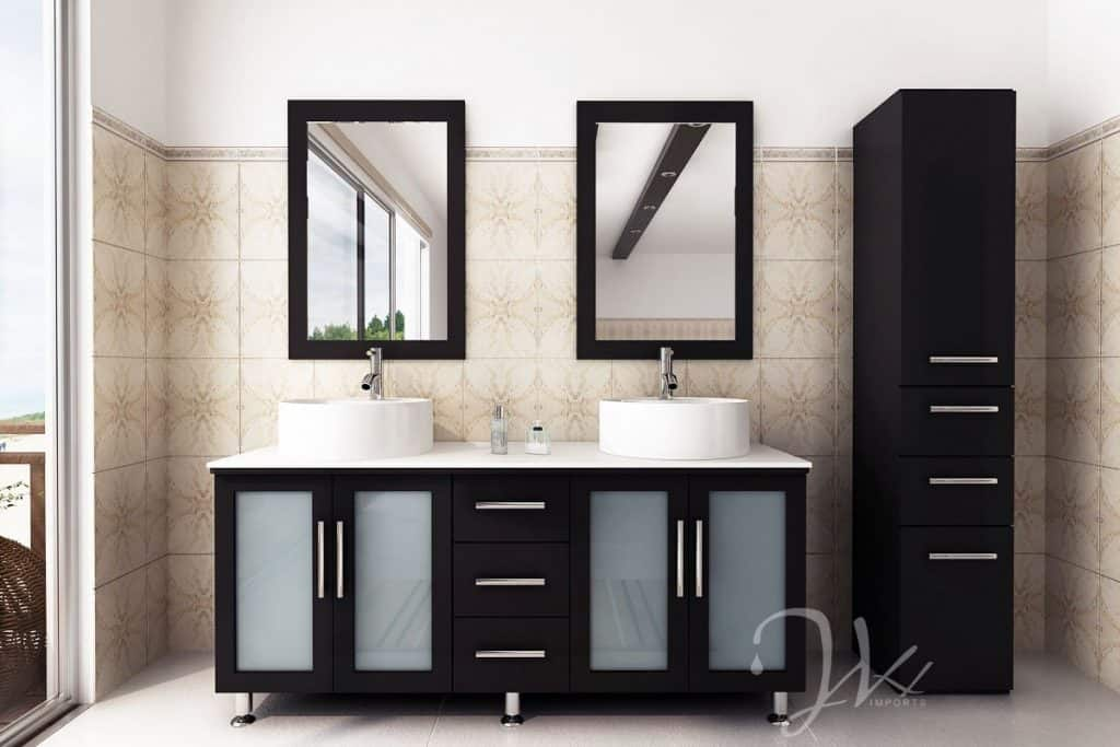 Lovely 59 Inch Double Lune Large Vessel Sink Modern Contemporary Bathroom Vanity  With Phoenix Stone Top