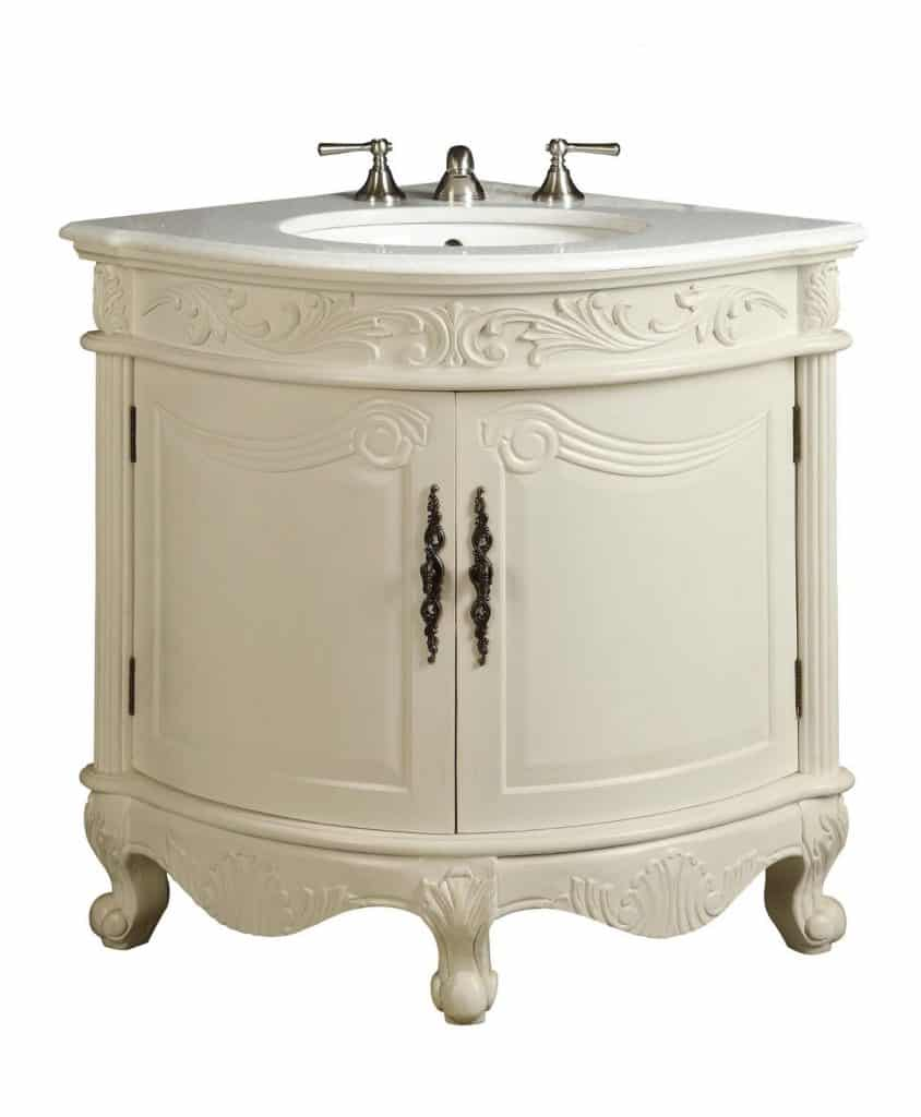 Corner Vanity With Sink : ... : Antique White Bay-view Corner bathroom sink vanity Model BC030W-AW