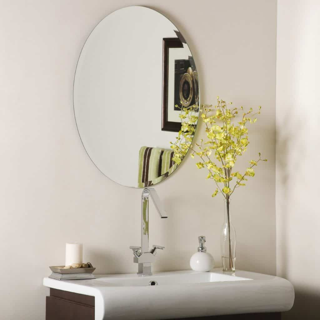 Oval mirrors for bathrooms - Decor Wonderland Odelia Oval Bevel Frameless Wall Mirror