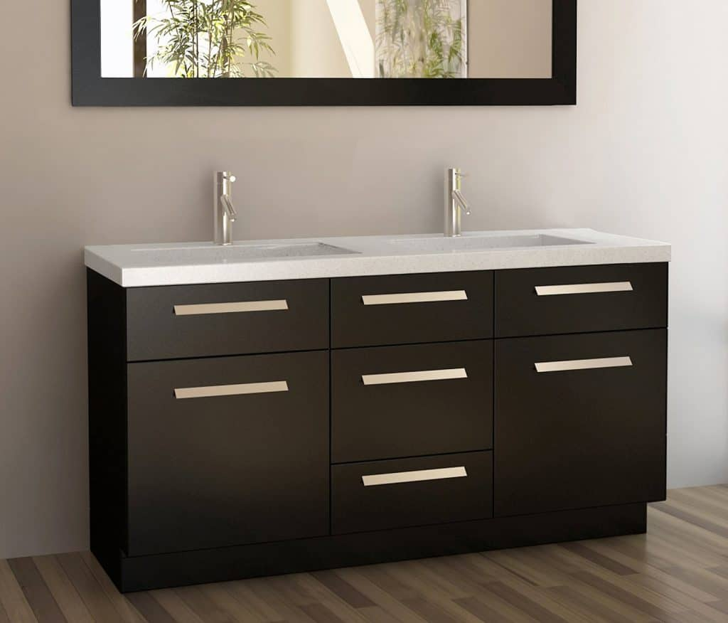 Design Element Moscony Double Sink Vanity Set with Espresso Finish, 60-Inch
