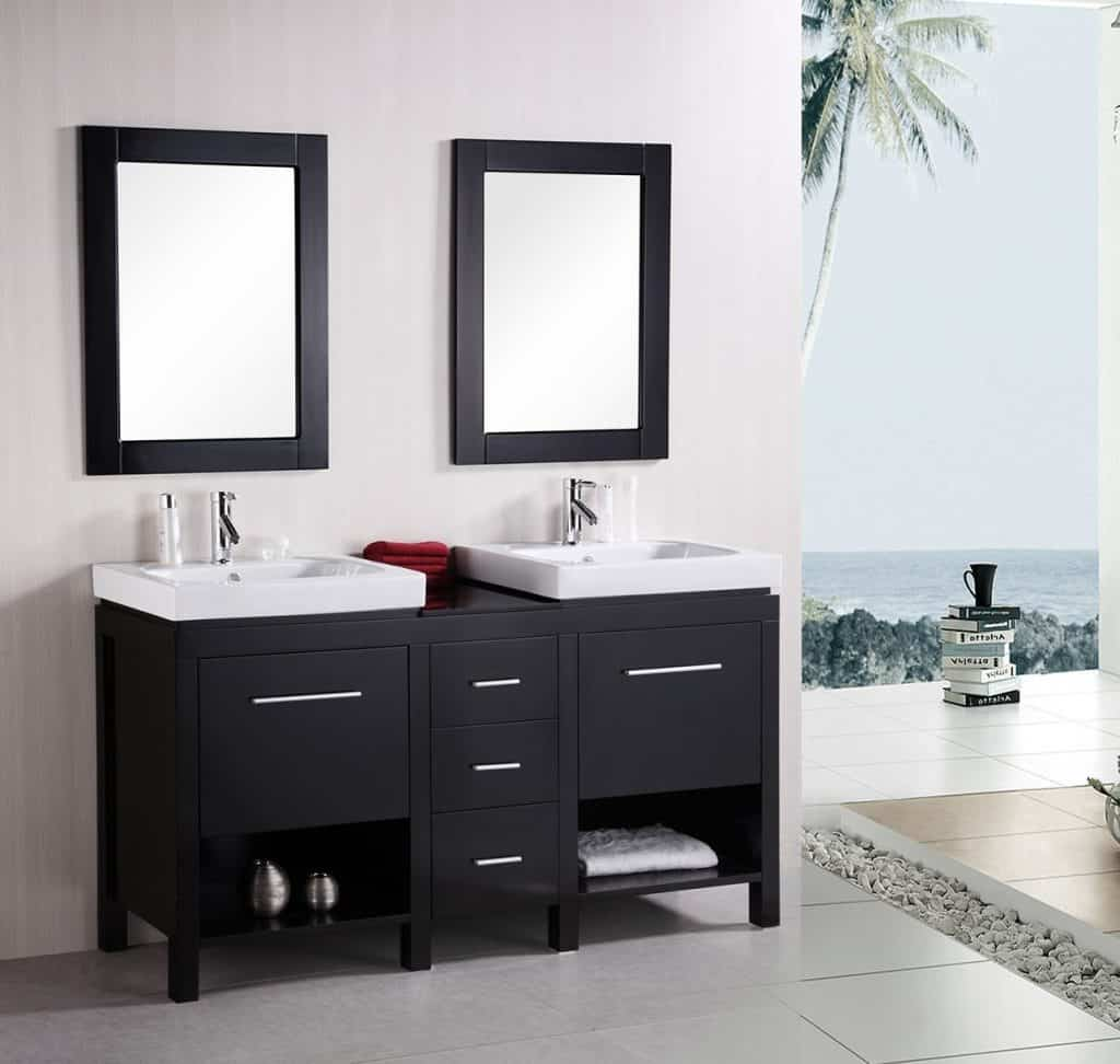 Bathroom vanity basin - Design Element New York Double Integrated Porcelain Drop In Sink Vanity Set 60