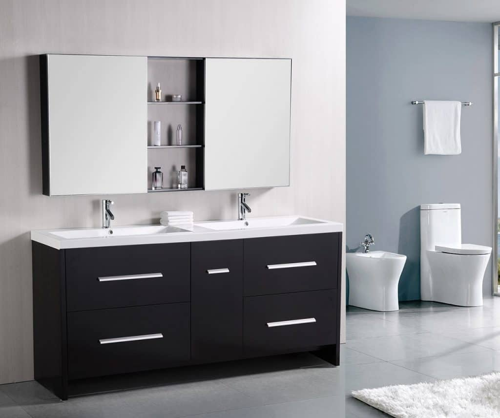 Contemporary bathroom vanities 36 inch - Design Element Perfecta Double Integrated White Acrylic Drop In Sink Vanity Set 72
