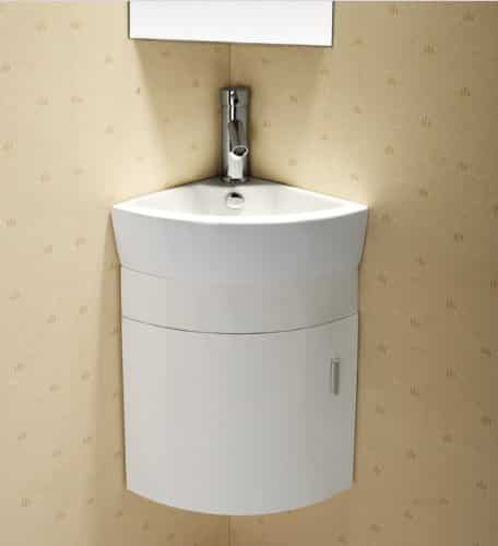 Elite Sinks EC9808P-SV Melamine Wall Hung Corner Vanity Fixture with Door