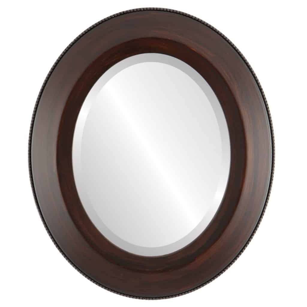 Framed Oval Beveled Mirror Finished in a Beautiful Mocha 22x28 Outer Dimensions