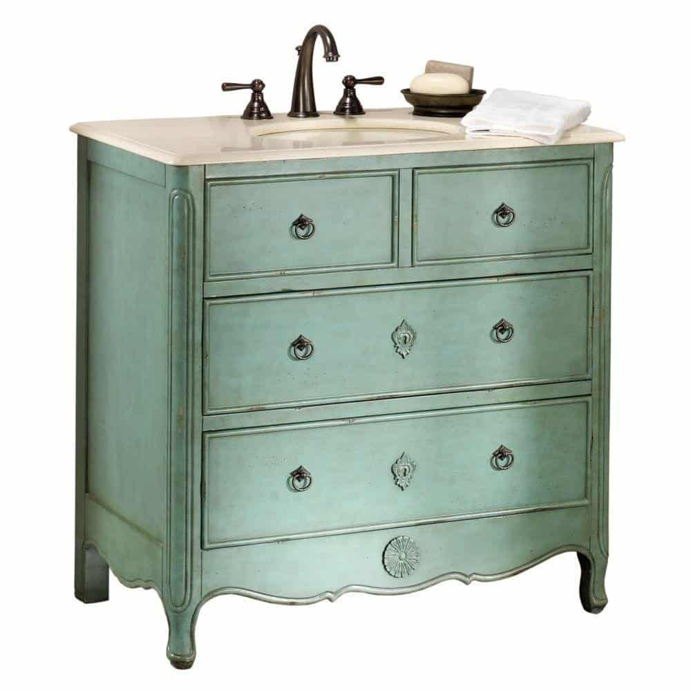Keys Vanity 35hx36w Distressed Aqua Marine