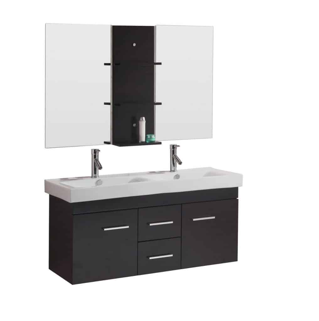 USA UM-3067-C-ES Opal 48-Inch Wall-Mounted Double Sink Bathroom Vanity ...