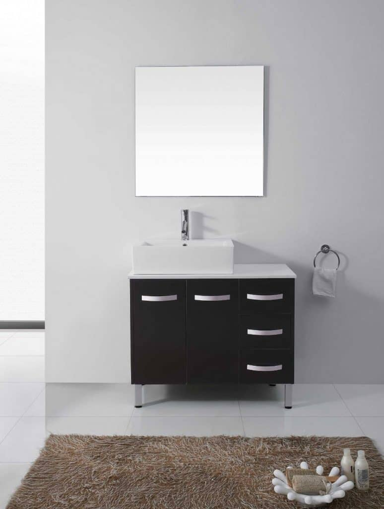 Virtu USA UM-3069-S-BL Tilda 40-Inch Single Sink Bathroom Vanity Set with White Stone Countertop, Ceramic Basin, Chrome Faucet, Black Finish
