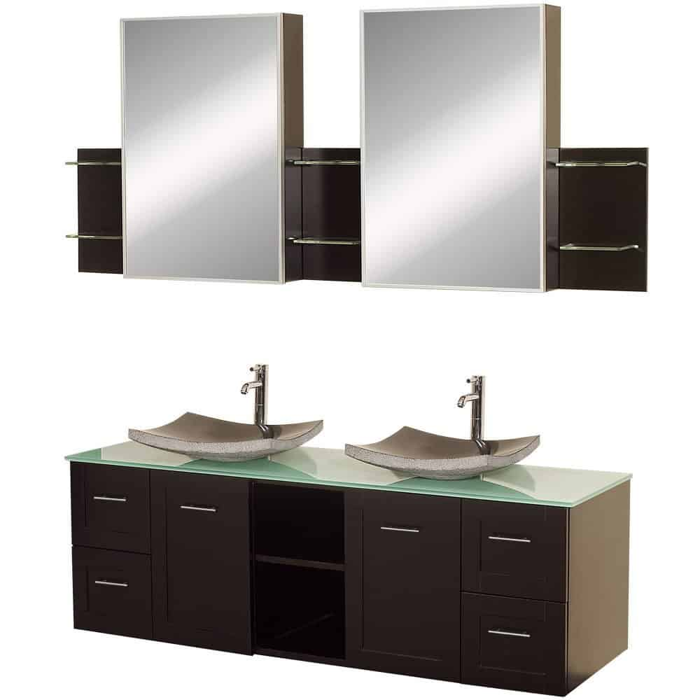 Wyndham Collection Avara 60 inch Double Bathroom Vanity in Espresso, Green Glass Countertop, Altair Black Granite Sinks, and Medicine Cabinets