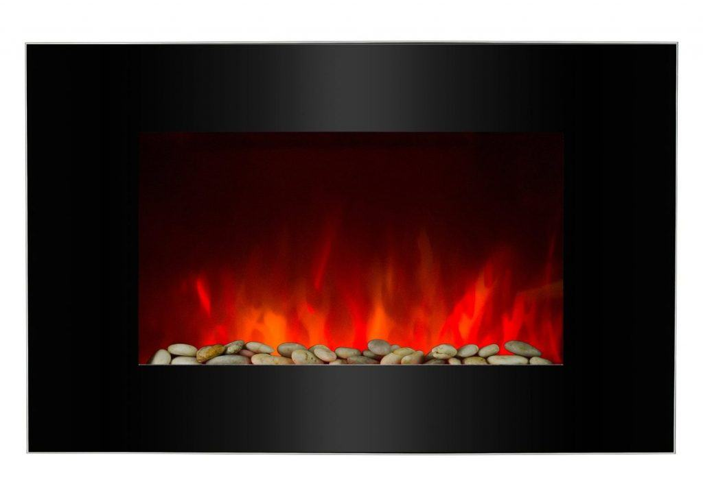 AKDY 36 Wall Mount 2-in-1 Log and Pebble Style Indoor Electric Fireplace