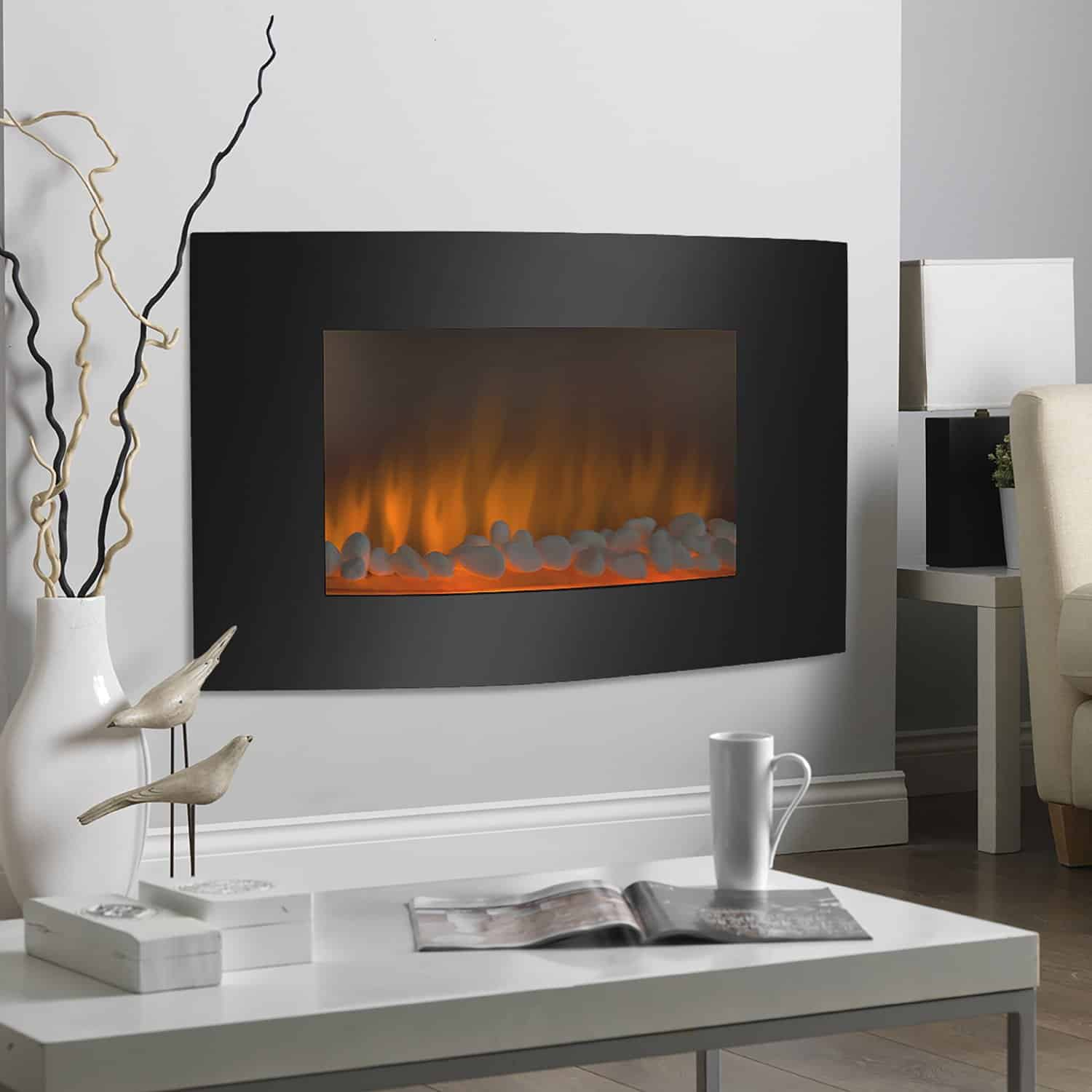 gas logs inserts and glass rock fireplace ideas