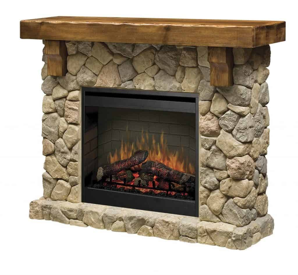 Dimplex SMP-904-ST Fieldstone Pine and Stone-look Electric Fireplace Mantel - Alternative Modern Ethanol & Electric Fireplaces Decor Snob