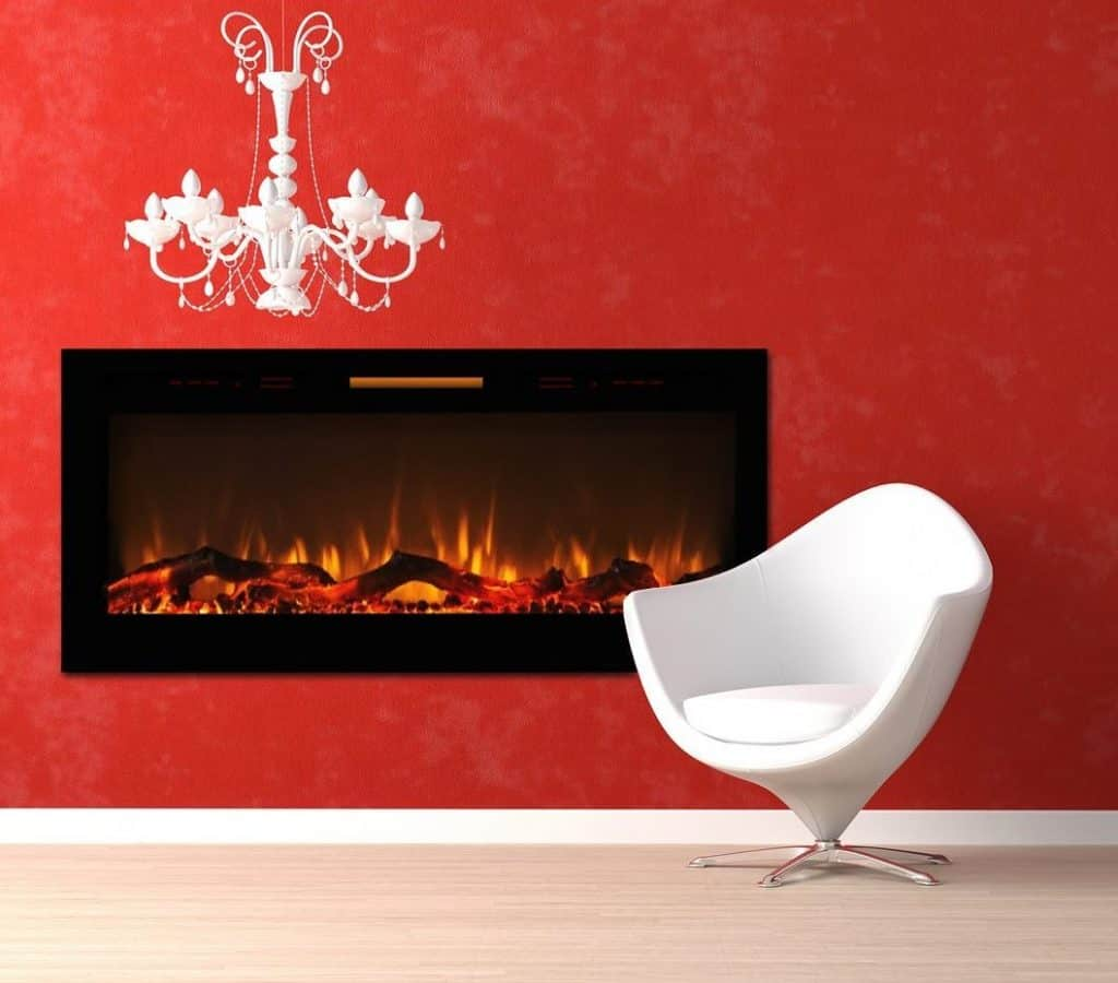 Black wall mounted electric fireplace - Elite Flame 50 Fusion Log Built In Smokeless Wall Mounted Electric Fireplace