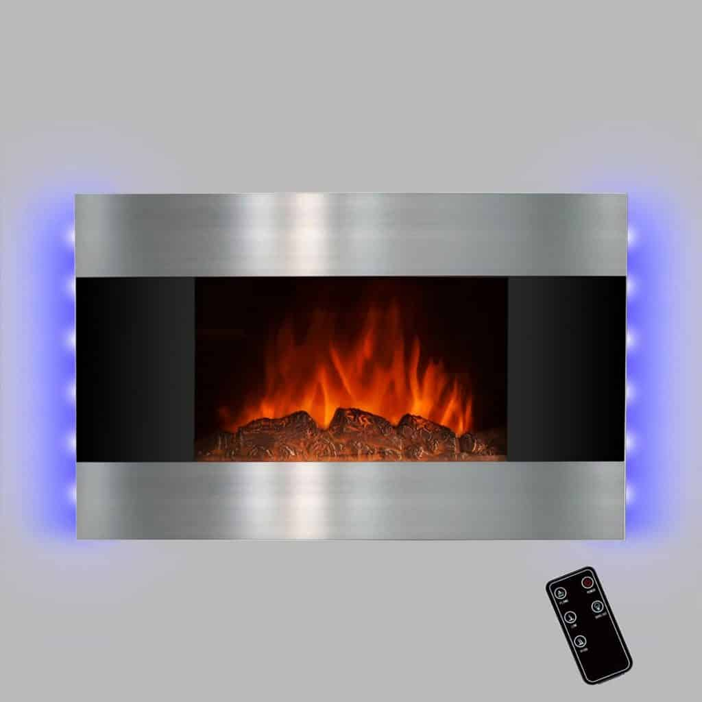 Golden Vantage 36 Wall Mount Electric Bedroom Heater Tempered Glass Fireplace w 3D Flame Log Set & Remote Control