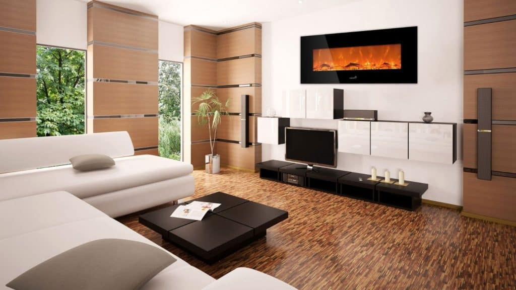 Ivation 50 Wall Mounted Glass Electric Fireplace w Built In 1500-Watt Heater - Realistic LED Flames