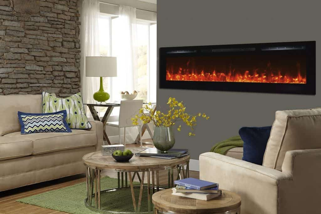 Touchstone Sideline 72 Recessed Electric Fireplace with Heater
