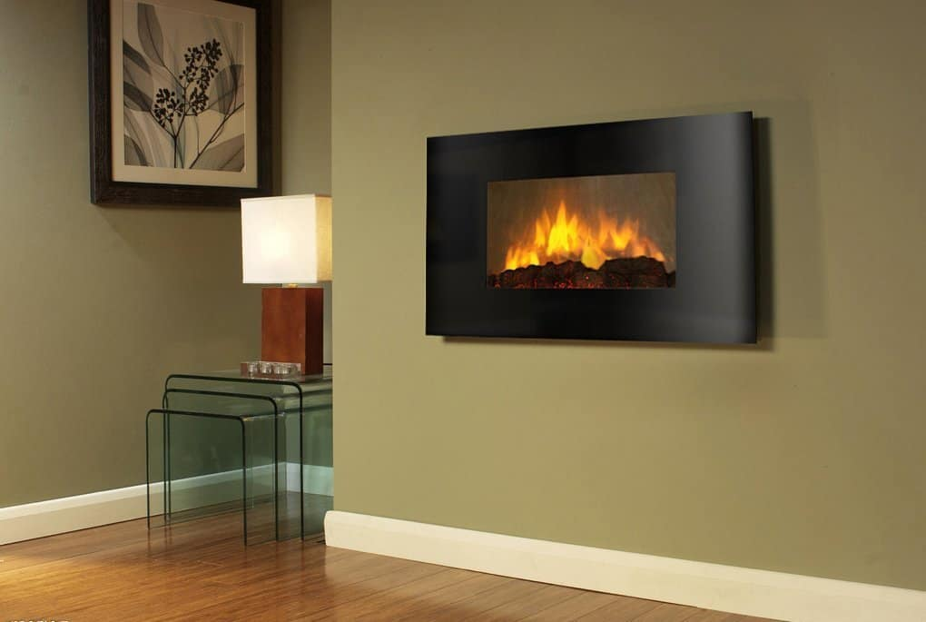 Wall Mounted Electric Fireplace Control Remote Heater Firebox Black