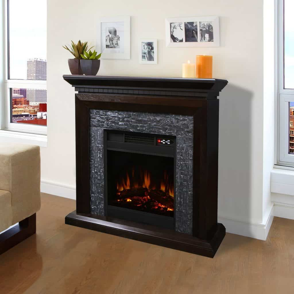 XtremepowerUS Large Room Grand 3D Flame Electric Fireplace with Mantel Cabinet Espresso