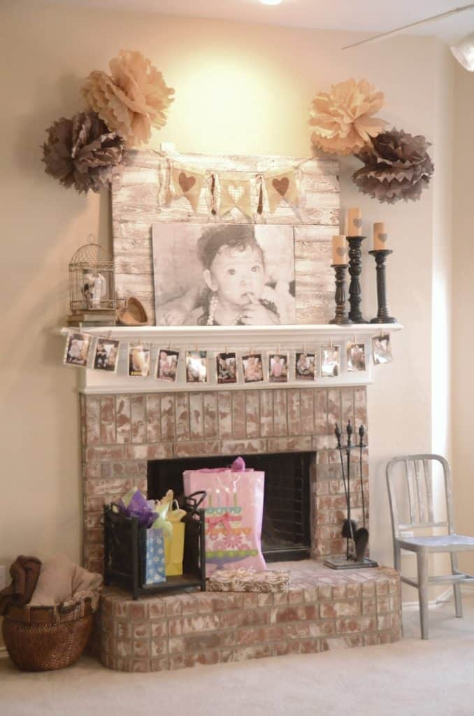 Birthday Mantel Decorating