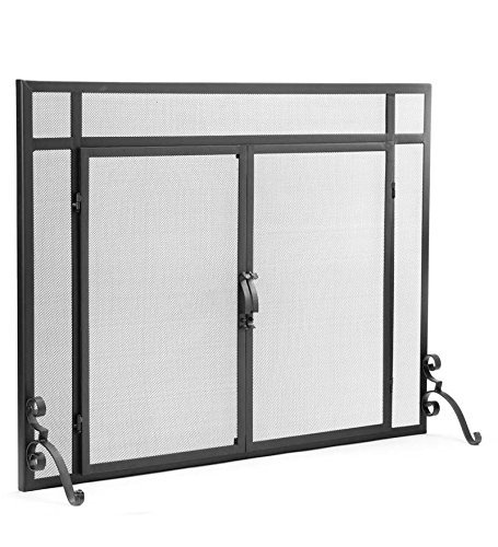 "2-Door Solid Steel Flat Guard Fire Screen, Size 39""W x 31""H, in Black"