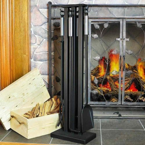 5 Pc Fireplace Set in Matte Black w Brushed Steel Finish Handles by Fireside Distributors