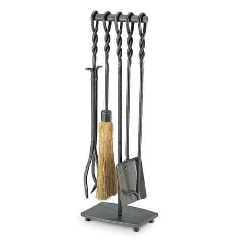 5 Pc T Base Fireplace Set w Spiral Handles in Iron Finish by Fireside Distributors