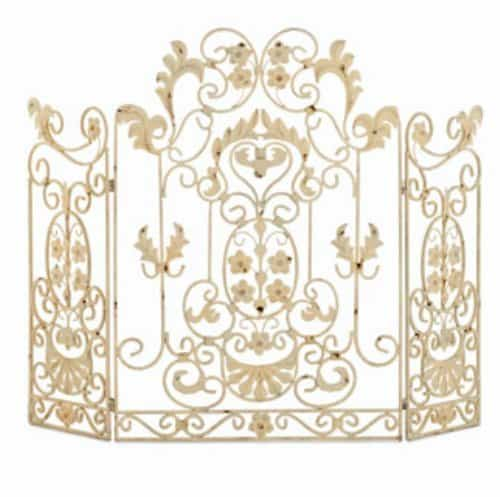 French Country White Iron Fireplace Screen