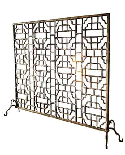 Geometric Single Panel Flat Fireplace Screen