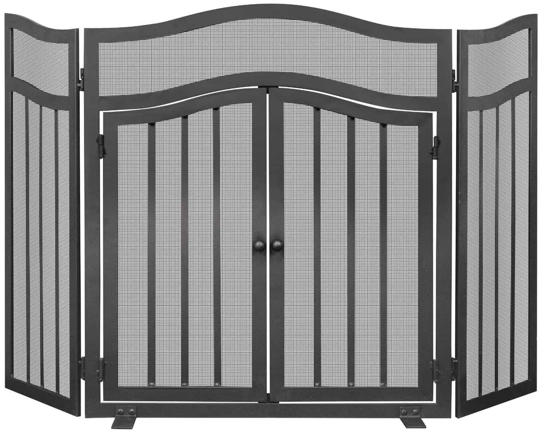 UniFlame S-1026 3 Panel Wrought Iron Screen with Doors