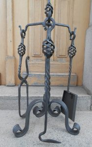 Wrought Iron Fireplace Tools Set Hand Forged Handmade 4 Pieces Stove Set
