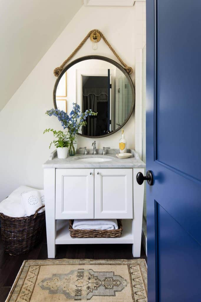 By the Vanity Towel Storage Idea