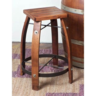 24-Inch Stave Wine Barrel Counter Stool with Wood Seat