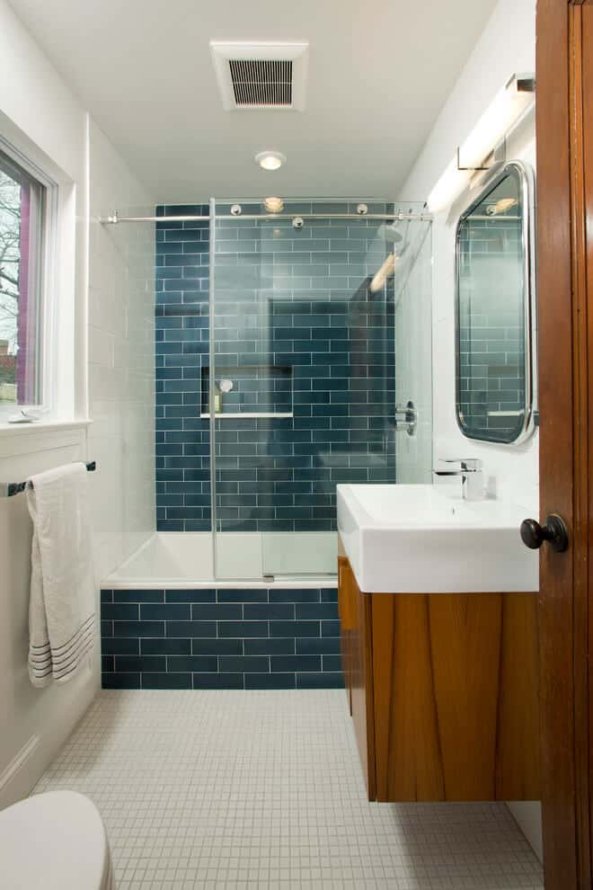 Blue Subway Tile Contrast with 1x1 White Tile
