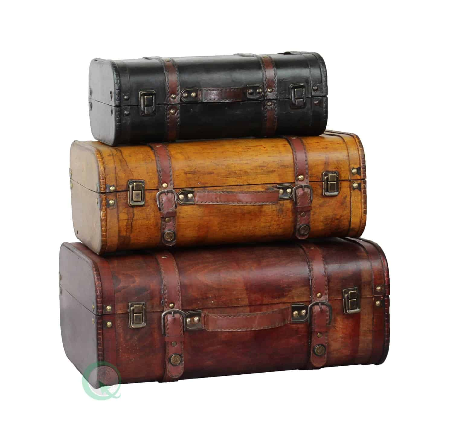 3-Colored Vintage Style Luggage SuitcaseTrunk