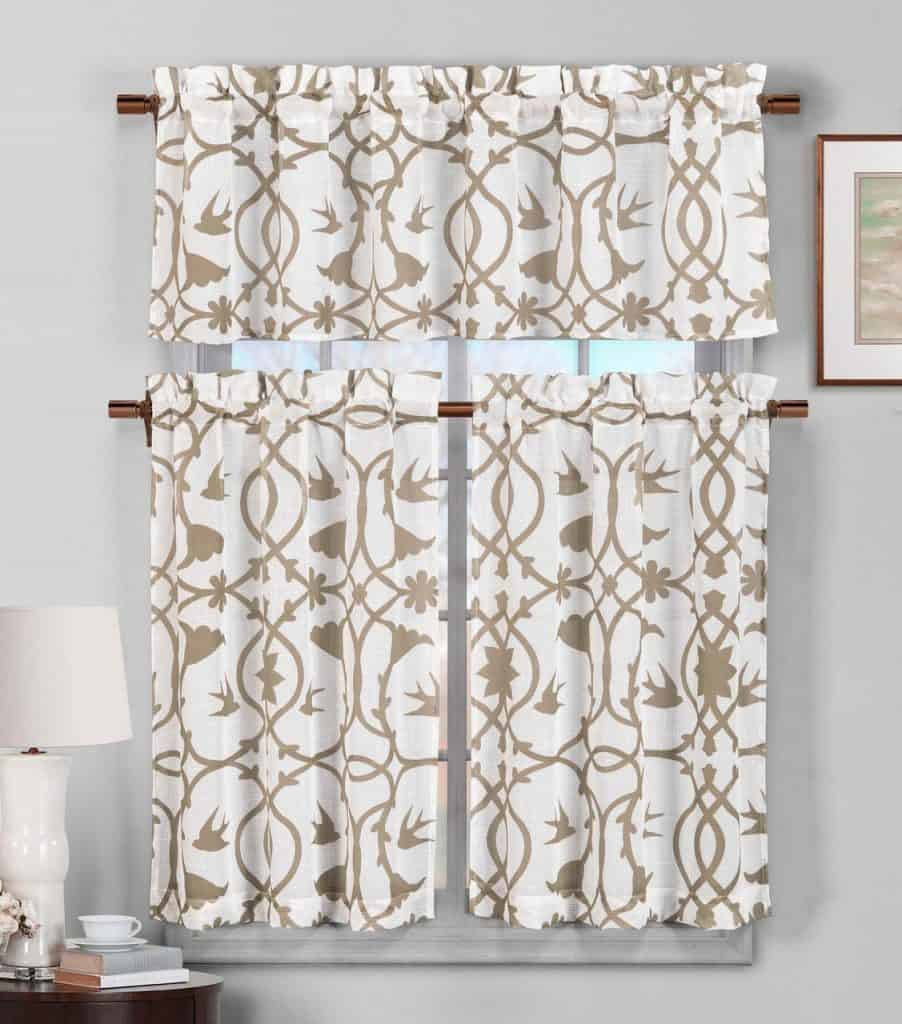 3 Piece Semi Sheer Window Curtain Set: Botanical Design, 2 Tiers, 1 Valance