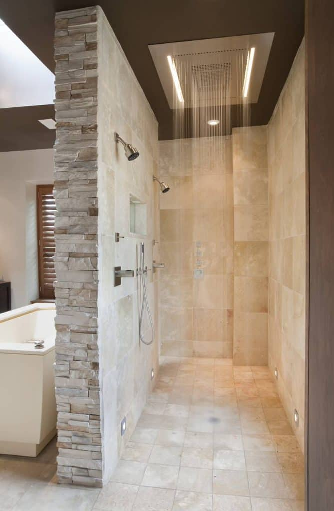 Beautiful Stone Tile Mix tile shower ideas